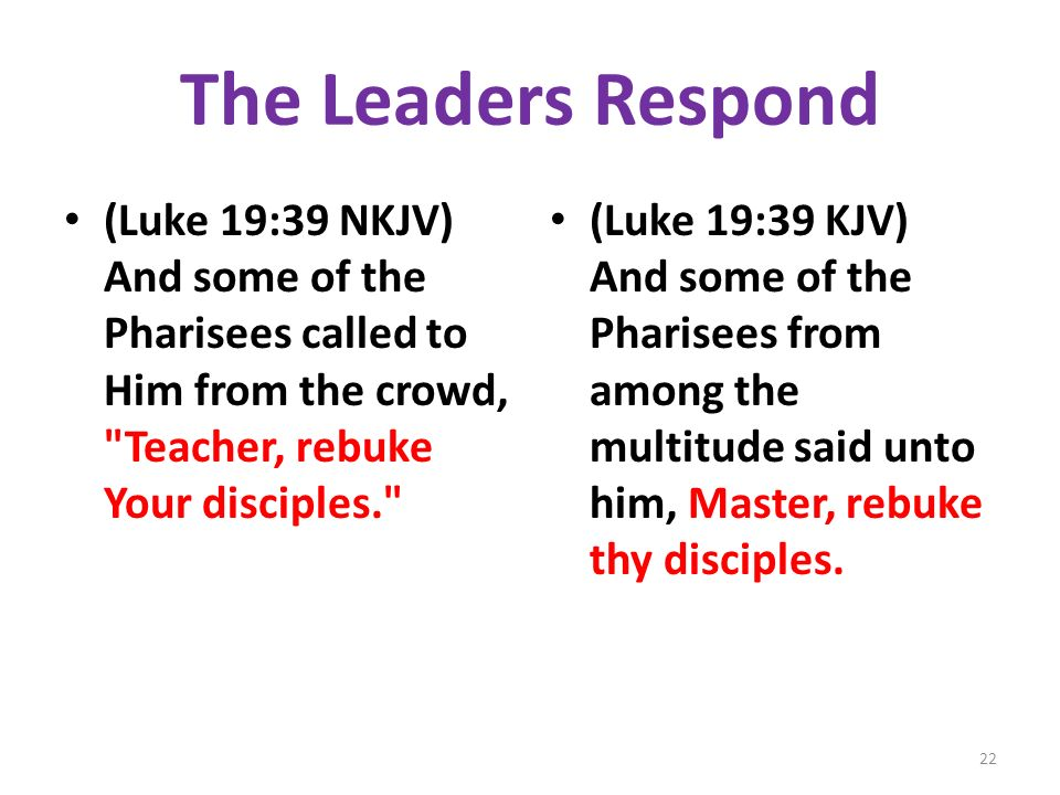 The Leaders Respond (Luke 19:39 NKJV) And some of the Pharisees called to Him from the crowd,