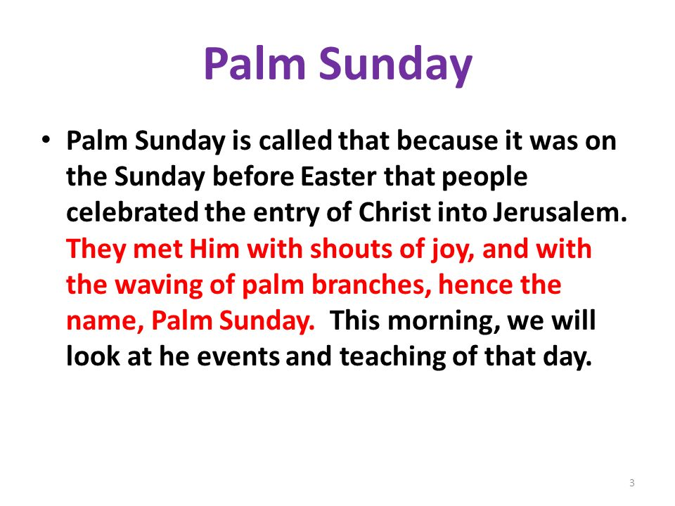 Palm Sunday Palm Sunday is called that because it was on the Sunday before Easter that people celebrated the entry of Christ into Jerusalem. They met