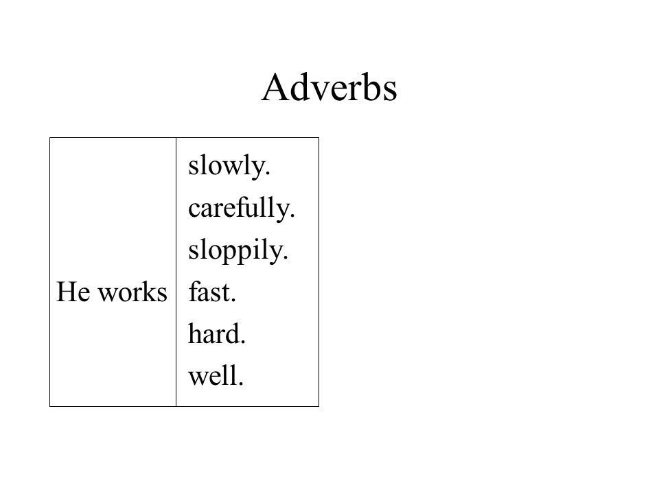 Adverbs slowly. carefully. sloppily. He worksfast. hard. well.