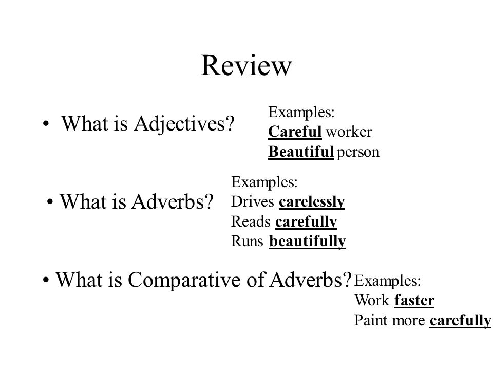 Review What is Adjectives? What is Adverbs? What is Comparative of Adverbs? Examples: Careful worker Beautiful person Examples: Drives carelessly Read