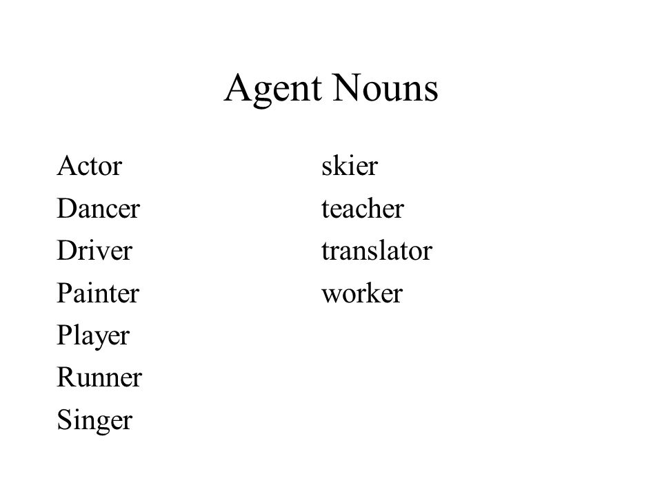 Agent Nouns Actorskier Dancerteacher Drivertranslator Painterworker Player Runner Singer