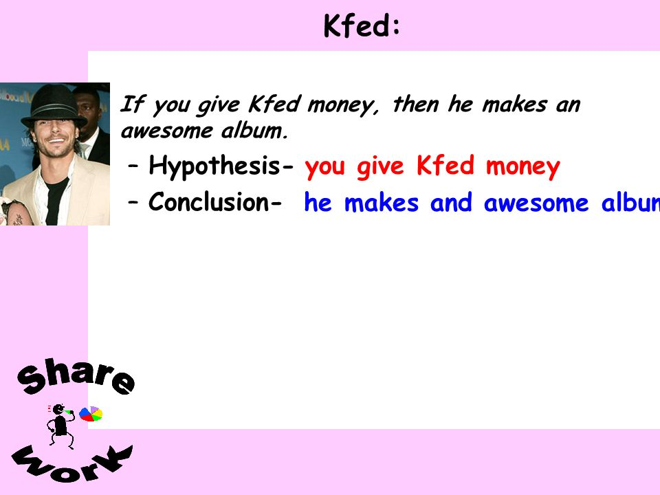 Kfed: If you give Kfed money, then he makes an awesome album. –Hypothesis- –Conclusion- you give Kfed money he makes and awesome album