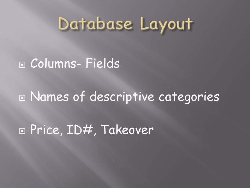 Columns- Fields Names of descriptive categories Price, ID#, Takeover