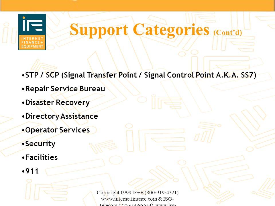 Copyright 1999 IF+E (800-919-4521) www.internetfinance.com & ISG- Telecom (727-738-5553) www.isg- telecom.com Support Categories (Contd) STP / SCP (Si