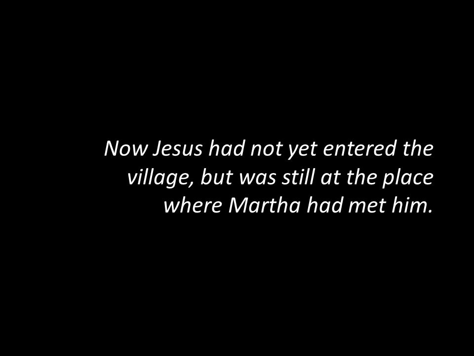 Now Jesus had not yet entered the village, but was still at the place where Martha had met him.