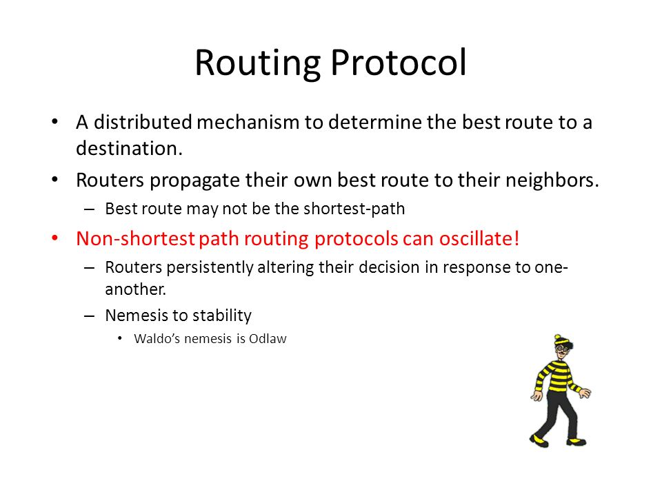 A distributed mechanism to determine the best route to a destination.