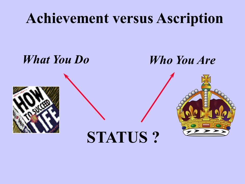 Achievement versus Ascription STATUS ? What You Do Who You Are