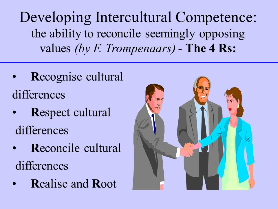 Developing Intercultural Competence: the ability to reconcile seemingly opposing values (by F. Trompenaars) - The 4 Rs: Recognise cultural differences