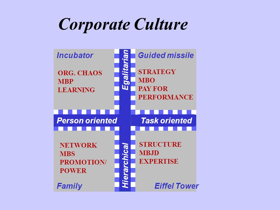 Corporate Culture Person orientedTask oriented Hierarchical Egalitarian IncubatorGuided missile FamilyEiffel Tower ORG. CHAOS MBP LEARNING STRATEGY MB