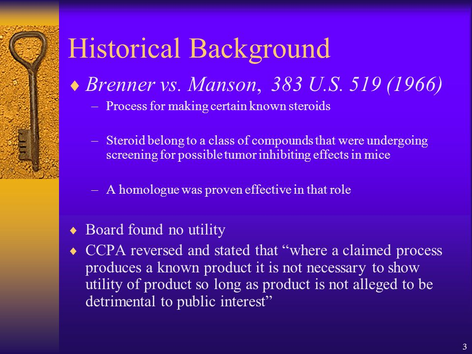 4 Brenner (cont.) Supreme Court reversed CCPA.A chemical process is not useful under 35 U.S.C.