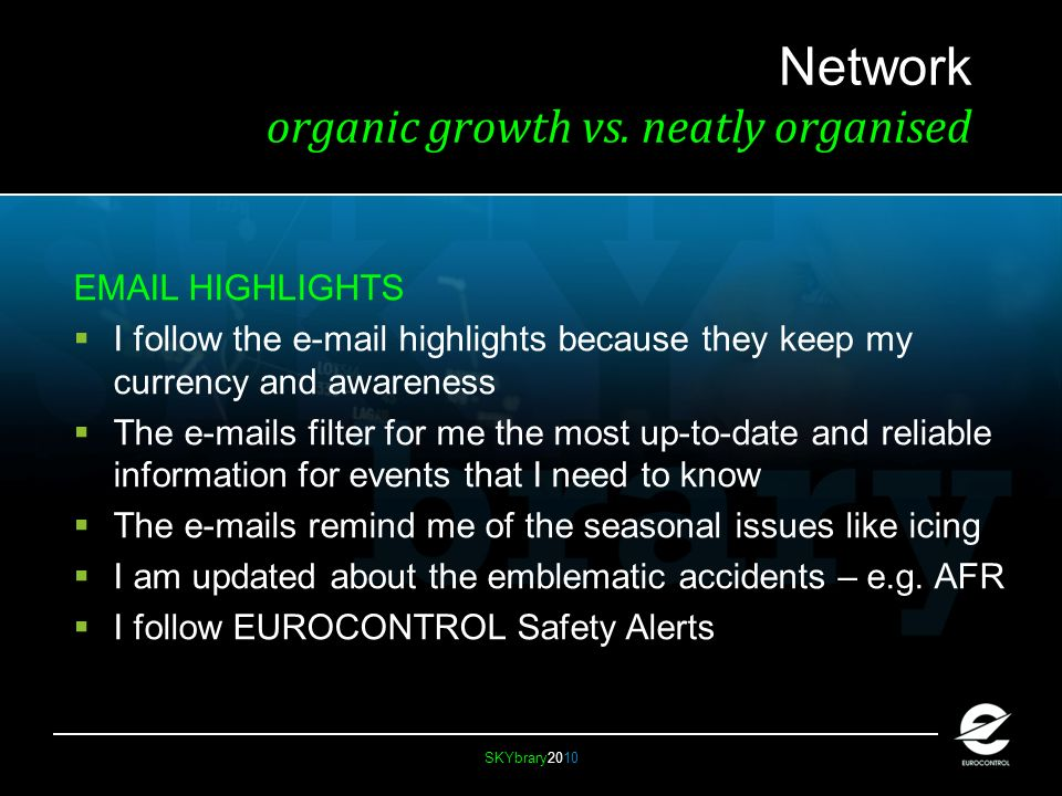 SKYbrary2010 Network organic growth vs.