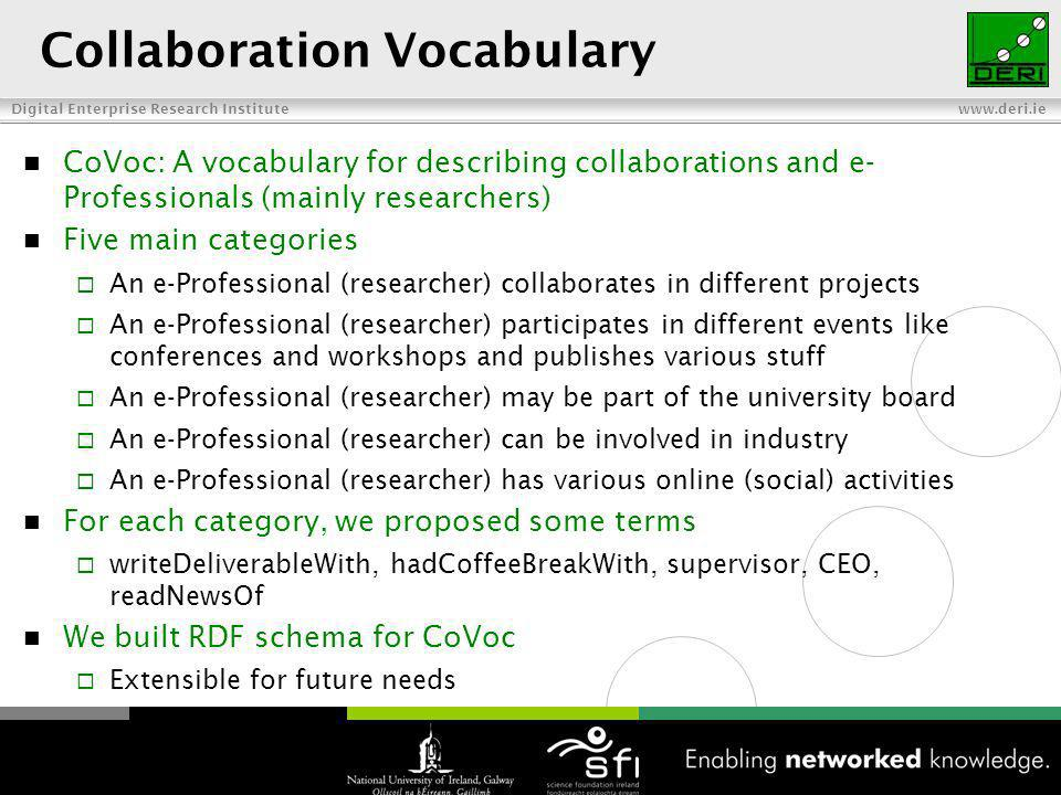 Digital Enterprise Research Institute www.deri.ie Collaboration Vocabulary CoVoc: A vocabulary for describing collaborations and e- Professionals (mainly researchers) Five main categories An e-Professional (researcher) collaborates in different projects An e-Professional (researcher) participates in different events like conferences and workshops and publishes various stuff An e-Professional (researcher) may be part of the university board An e-Professional (researcher) can be involved in industry An e-Professional (researcher) has various online (social) activities For each category, we proposed some terms writeDeliverableWith, hadCoffeeBreakWith, supervisor, CEO, readNewsOf We built RDF schema for CoVoc Extensible for future needs