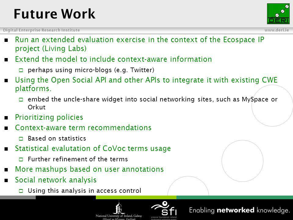 Digital Enterprise Research Institute www.deri.ie Future Work Run an extended evaluation exercise in the context of the Ecospace IP project (Living Labs) Extend the model to include context-aware information perhaps using micro-blogs (e.g.