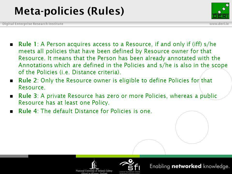Digital Enterprise Research Institute www.deri.ie Meta-policies (Rules) Rule 1: A Person acquires access to a Resource, if and only if (iff) s/he meets all policies that have been defined by Resource owner for that Resource.
