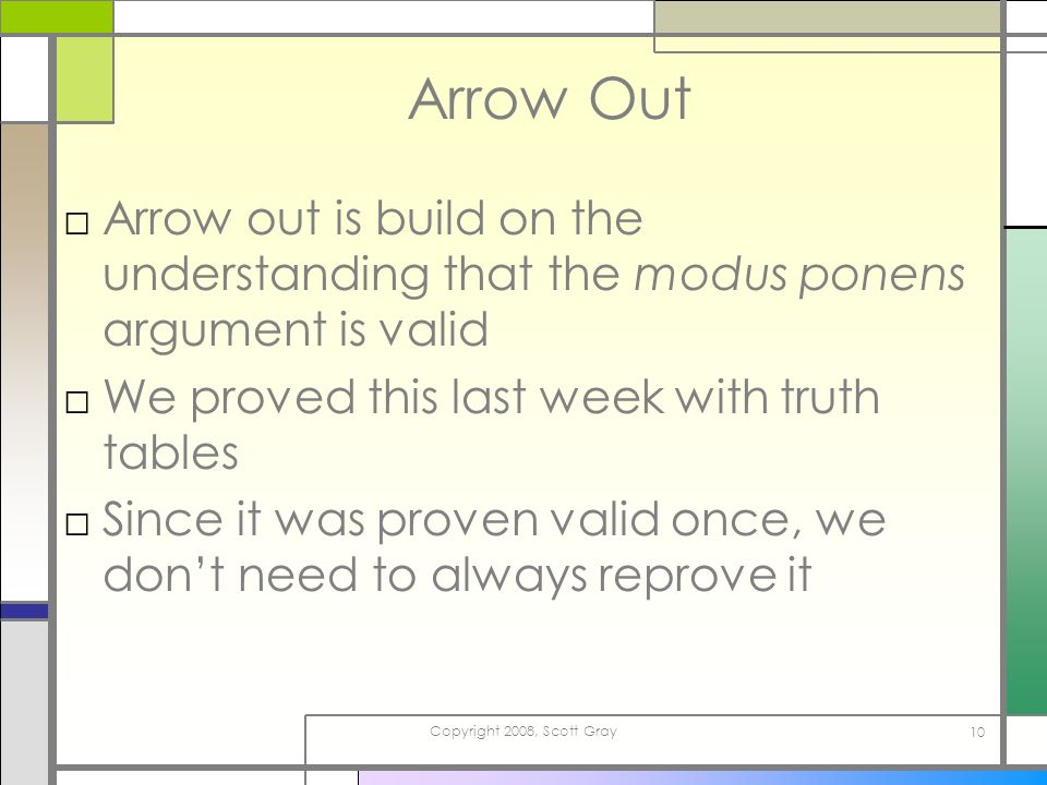 Copyright 2008, Scott Gray 10 Arrow Out Arrow out is build on the understanding that the modus ponens argument is valid We proved this last week with truth tables Since it was proven valid once, we dont need to always reprove it