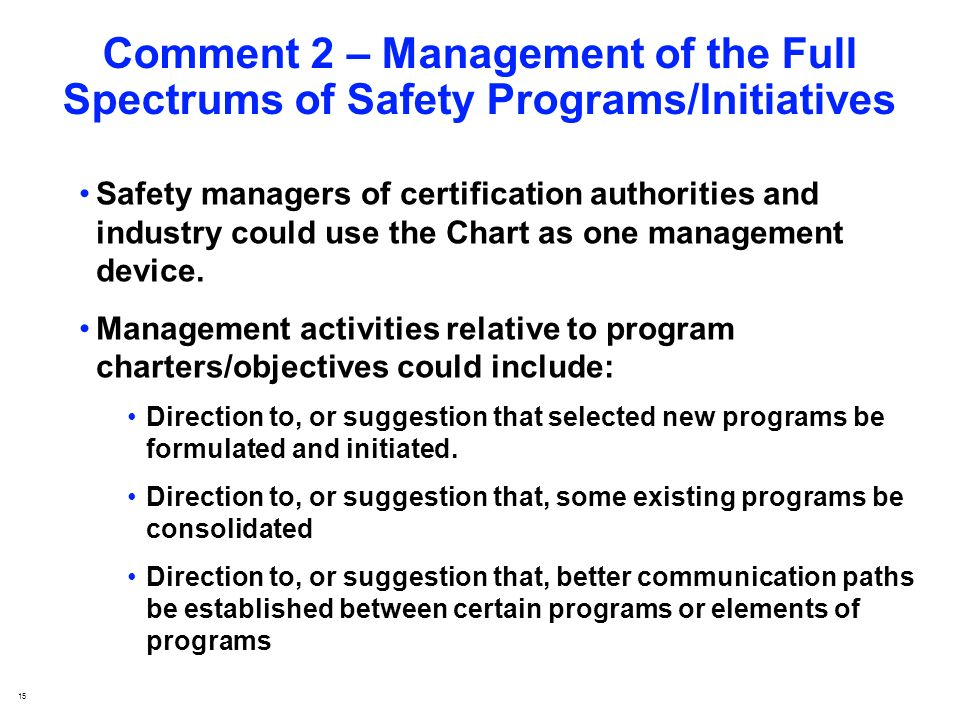 15 Comment 2 – Management of the Full Spectrums of Safety Programs/Initiatives Safety managers of certification authorities and industry could use the Chart as one management device.