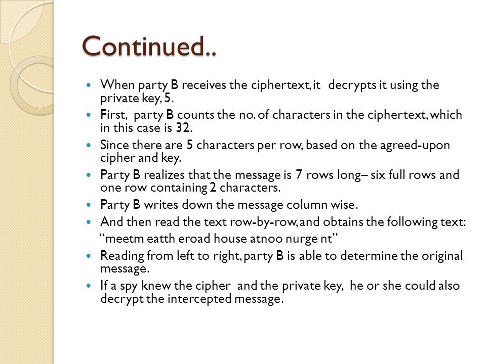 Continued.. When party B receives the ciphertext, it decrypts it using the private key, 5.