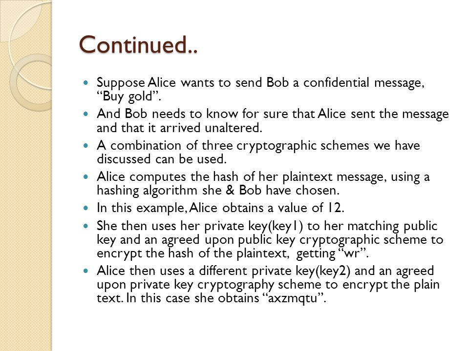 Continued.. Suppose Alice wants to send Bob a confidential message, Buy gold.
