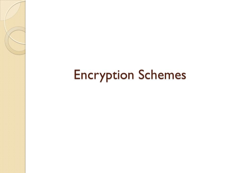 Encryption Schemes Encryption Schemes