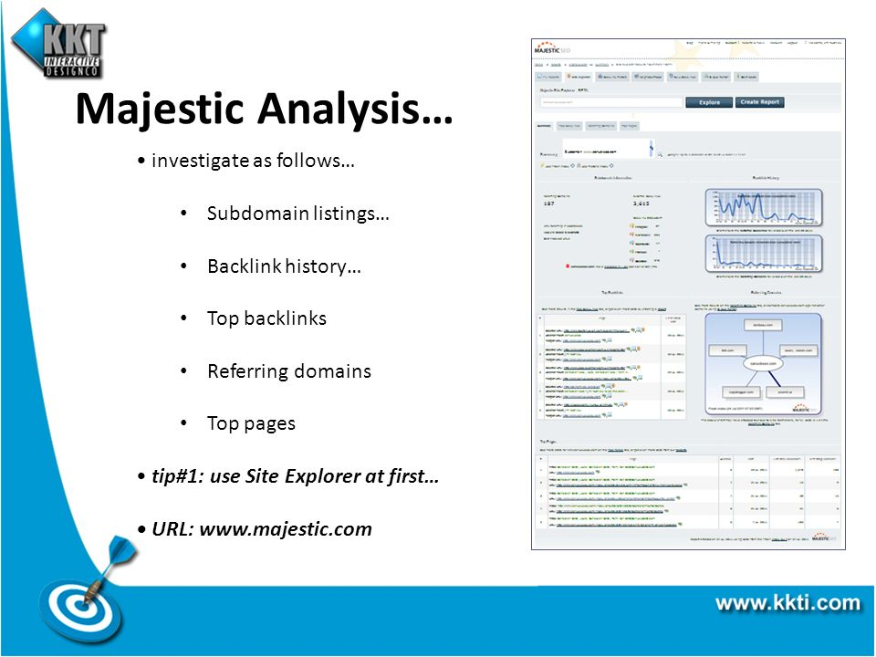 Majestic Analysis… investigate as follows… Subdomain listings… Backlink history… Top backlinks Referring domains Top pages tip#1: use Site Explorer at