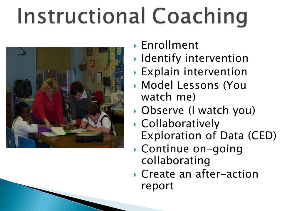 Enrollment Identify intervention Explain intervention Model Lessons (You watch me) Observe (I watch you) Collaboratively Exploration of Data (CED) Con