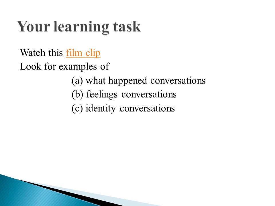 Watch this film clipfilm clip Look for examples of (a) what happened conversations (b) feelings conversations (c) identity conversations