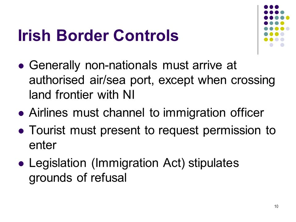 10 Irish Border Controls Generally non-nationals must arrive at authorised air/sea port, except when crossing land frontier with NI Airlines must chan