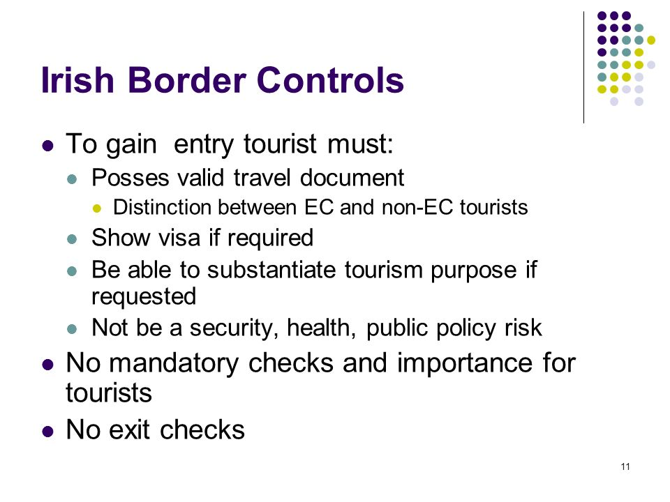 11 Irish Border Controls To gain entry tourist must: Posses valid travel document Distinction between EC and non-EC tourists Show visa if required Be