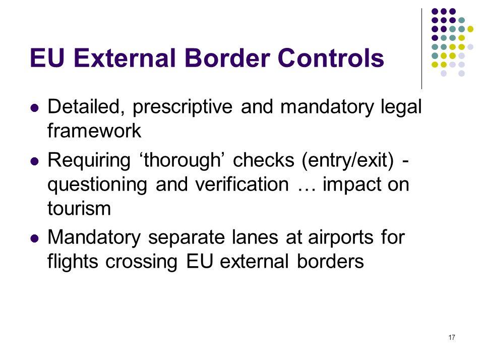 17 EU External Border Controls Detailed, prescriptive and mandatory legal framework Requiring thorough checks (entry/exit) - questioning and verificat