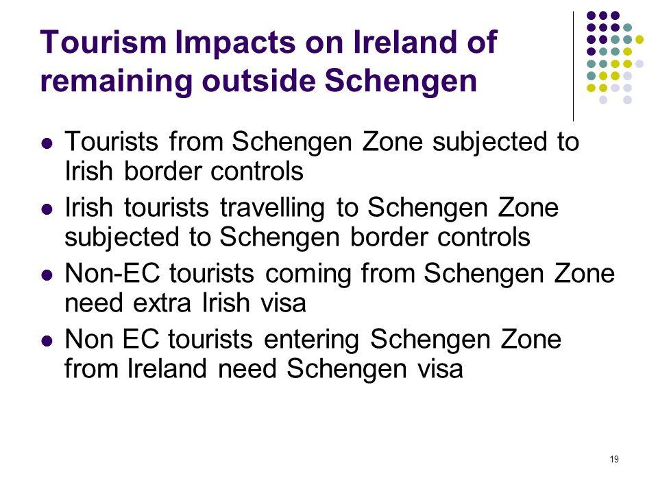 19 Tourism Impacts on Ireland of remaining outside Schengen Tourists from Schengen Zone subjected to Irish border controls Irish tourists travelling t
