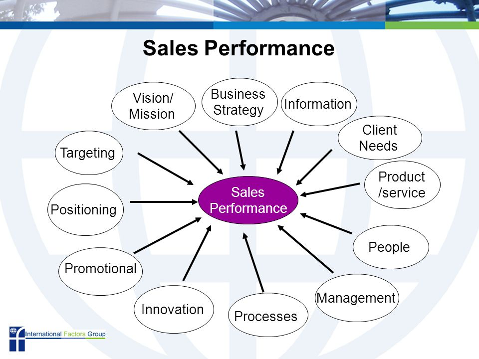 Sales Performance Targeting Innovation Information People Management Positioning Client Needs Promotional Vision/ Mission Product /service Processes Business Strategy Sales Performance