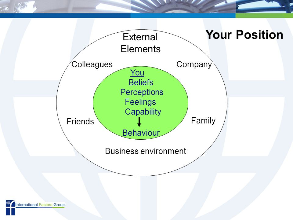 External Elements You Beliefs Perceptions Feelings Capability Behaviour Company Family Business environment Friends Colleagues Your Position