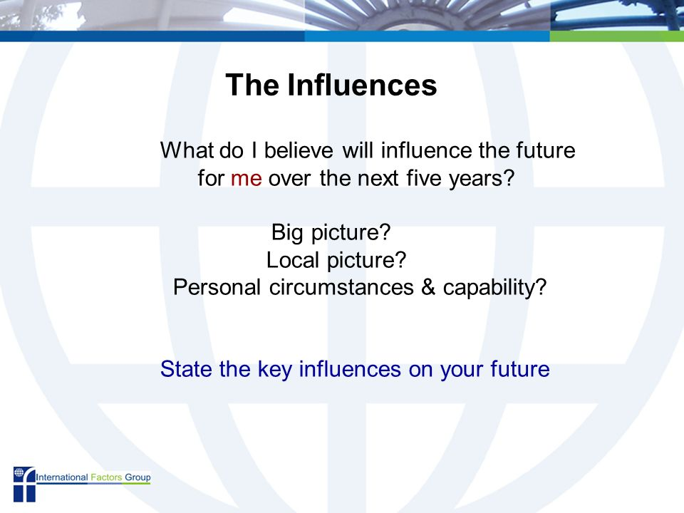 What do I believe will influence the future for me over the next five years.