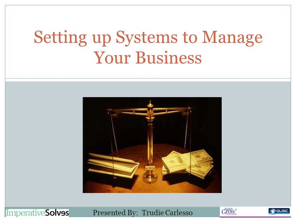 Setting up Systems to Manage Your Business Presented By: Trudie Carlesso