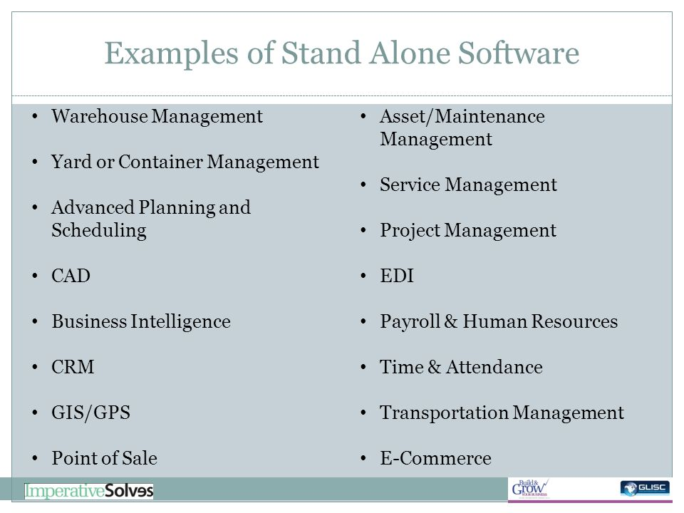 Examples of Stand Alone Software Warehouse Management Yard or Container Management Advanced Planning and Scheduling CAD Business Intelligence CRM GIS/