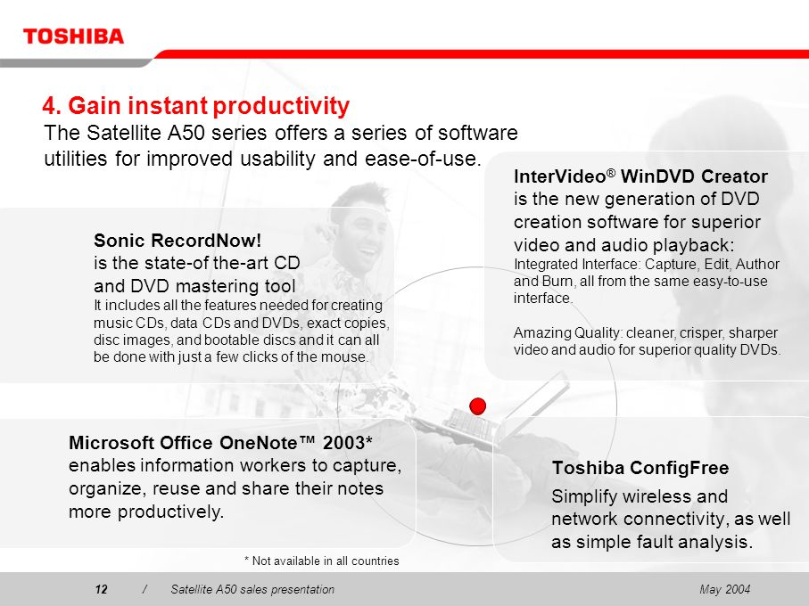 May 200412/Satellite A50 sales presentation12 4. Gain instant productivity Toshiba ConfigFree Simplify wireless and network connectivity, as well as s