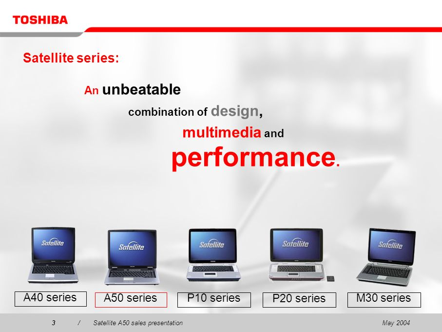 May 20043/Satellite A50 sales presentation3 Satellite series: An unbeatable combination of design, multimedia and performance. P20 series P10 series M