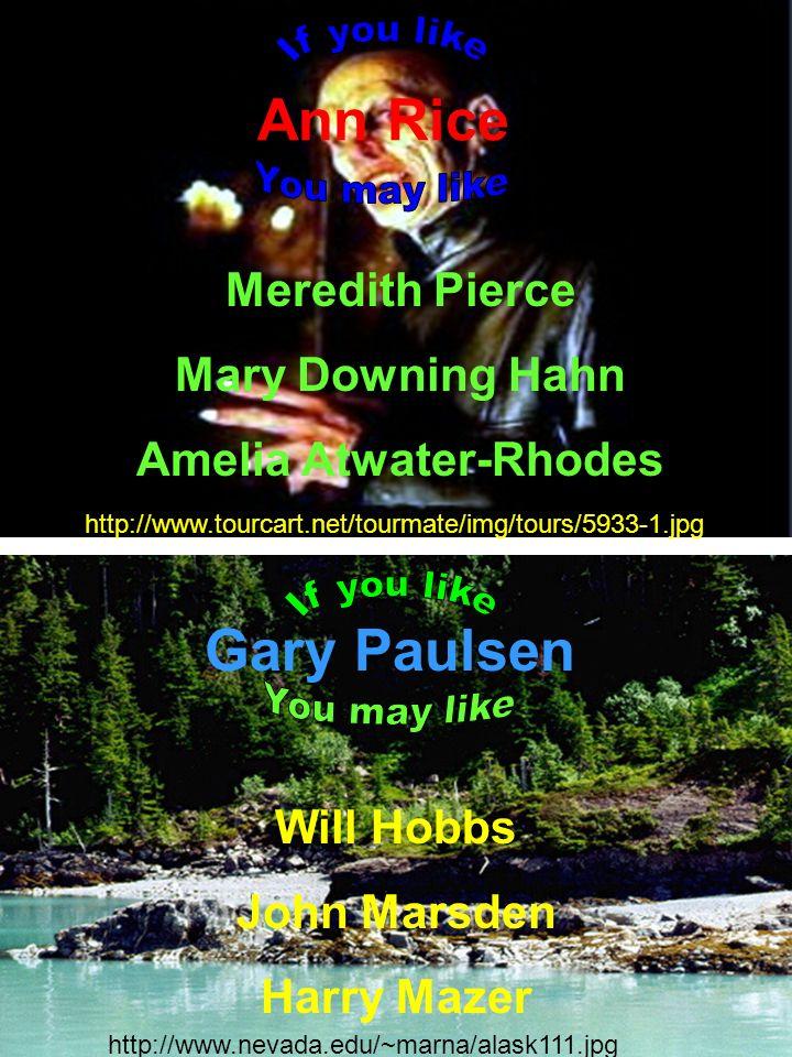 Ann Rice Meredith Pierce Mary Downing Hahn Amelia Atwater-Rhodes Gary Paulsen Will Hobbs John Marsden Harry Mazer http://www.nevada.edu/~marna/alask11