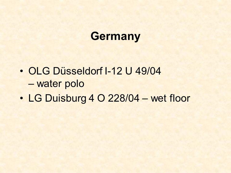 Germany OLG Düsseldorf I-12 U 49/04 – water polo LG Duisburg 4 O 228/04 – wet floor