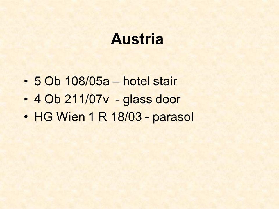 Austria 5 Ob 108/05a – hotel stair 4 Ob 211/07v - glass door HG Wien 1 R 18/03 - parasol