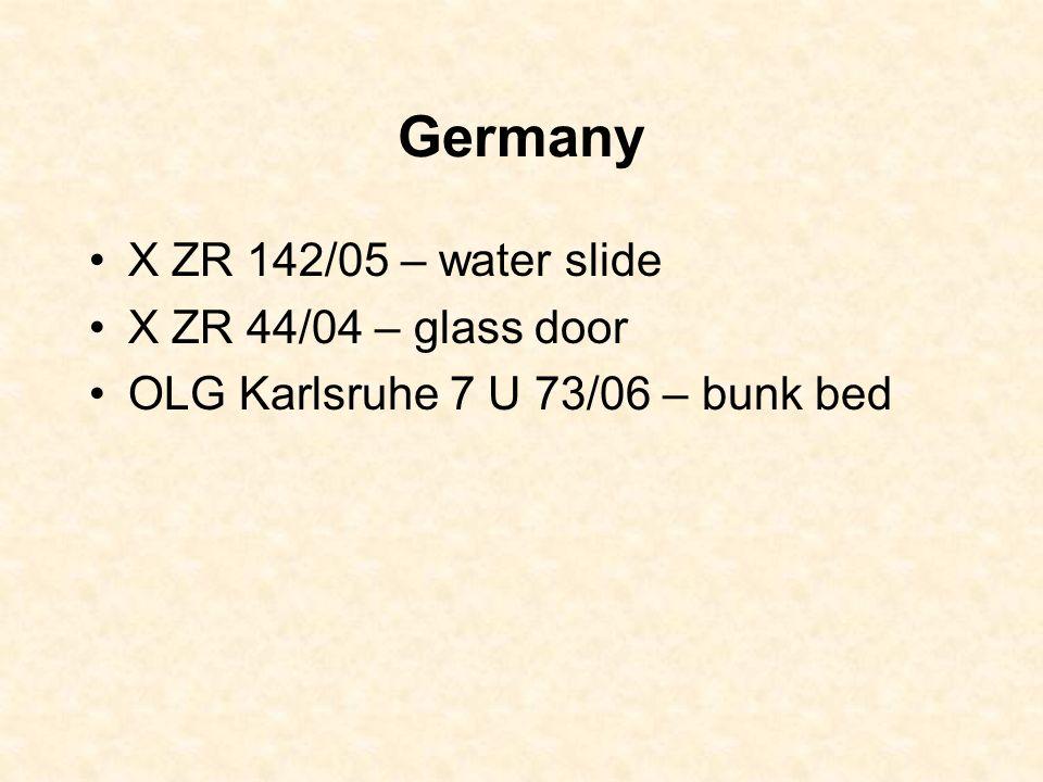 Germany X ZR 142/05 – water slide X ZR 44/04 – glass door OLG Karlsruhe 7 U 73/06 – bunk bed