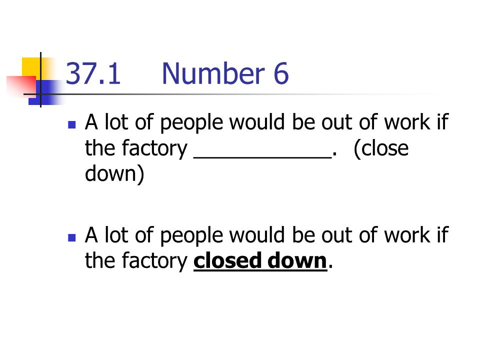 37.1Number 6 A lot of people would be out of work if the factory ____________.