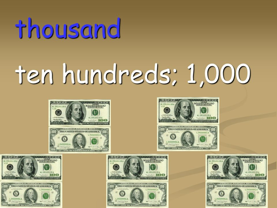 million one thousand thousands; 1,000,000