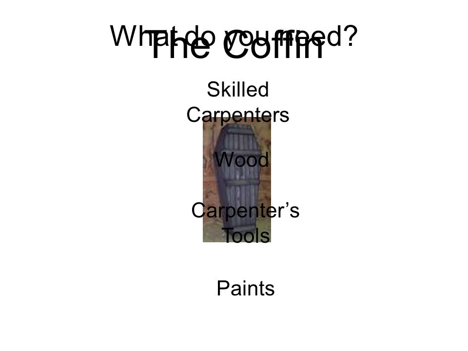 The Coffin What do you need? Skilled Carpenters Wood Carpenters Tools Paints