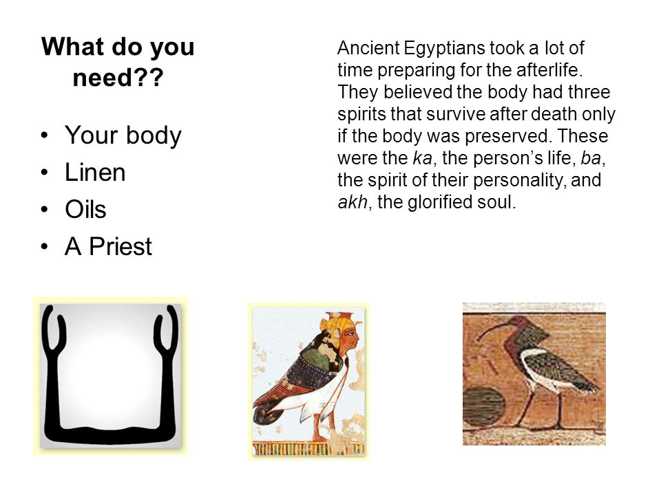 What do you need?? Your body Linen Oils A Priest Ancient Egyptians took a lot of time preparing for the afterlife. They believed the body had three sp