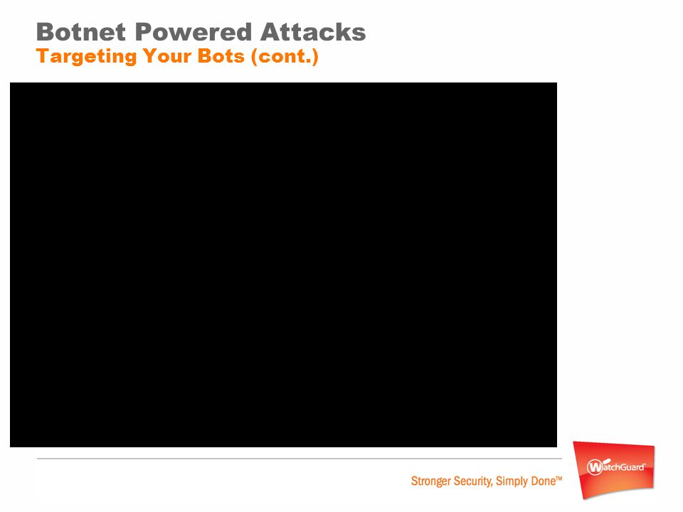 Botnet Powered Attacks Targeting Your Bots (cont.) Spy on victims Keylog Packet sniff Capture screenshots Capture webcam images and video Video DEMO: