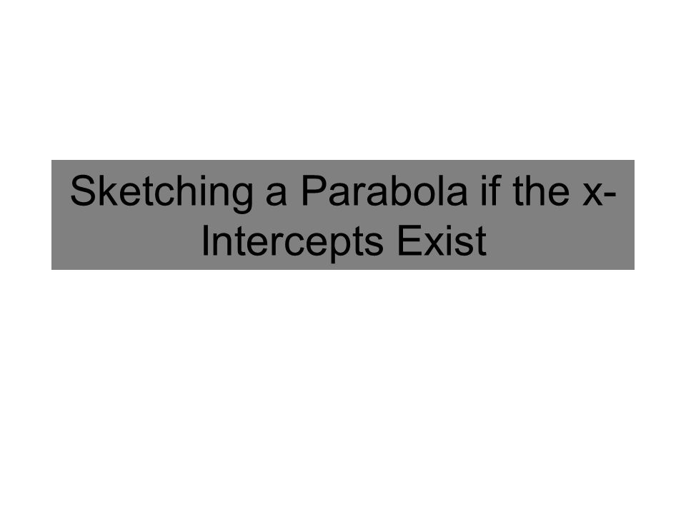 Sketching a Parabola if the x- Intercepts Exist