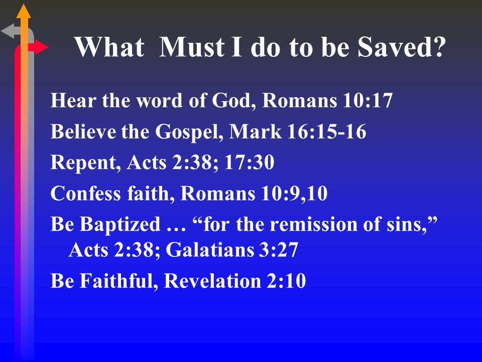 What Must I do to be Saved? Hear the word of God, Romans 10:17 Believe the Gospel, Mark 16:15-16 Repent, Acts 2:38; 17:30 Confess faith, Romans 10:9,1