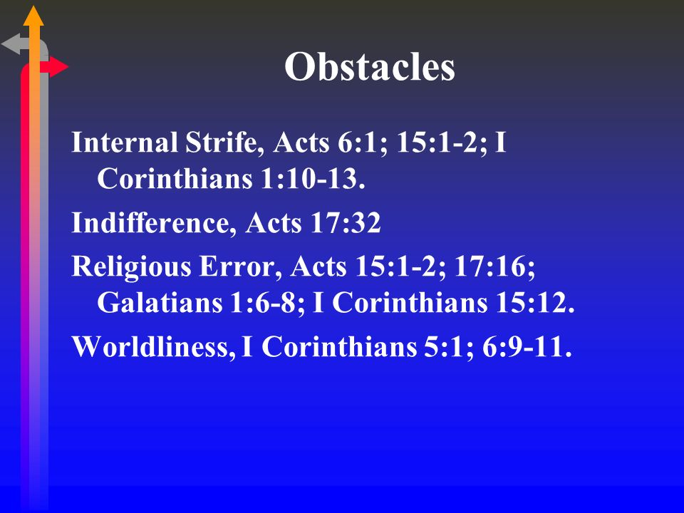 Obstacles Internal Strife, Acts 6:1; 15:1-2; I Corinthians 1:10-13.