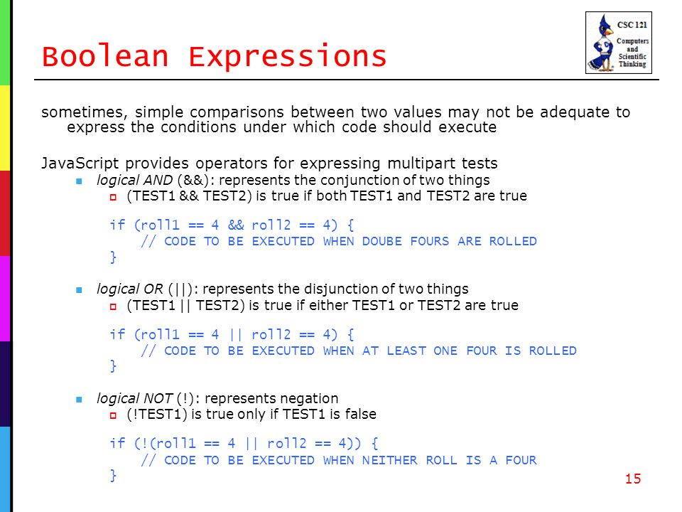 Boolean Expressions sometimes, simple comparisons between two values may not be adequate to express the conditions under which code should execute JavaScript provides operators for expressing multipart tests logical AND (&&): represents the conjunction of two things (TEST1 && TEST2) is true if both TEST1 and TEST2 are true if (roll1 == 4 && roll2 == 4) { // CODE TO BE EXECUTED WHEN DOUBE FOURS ARE ROLLED } logical OR (||): represents the disjunction of two things (TEST1 || TEST2) is true if either TEST1 or TEST2 are true if (roll1 == 4 || roll2 == 4) { // CODE TO BE EXECUTED WHEN AT LEAST ONE FOUR IS ROLLED } logical NOT (!): represents negation (!TEST1) is true only if TEST1 is false if (!(roll1 == 4 || roll2 == 4)) { // CODE TO BE EXECUTED WHEN NEITHER ROLL IS A FOUR } 15